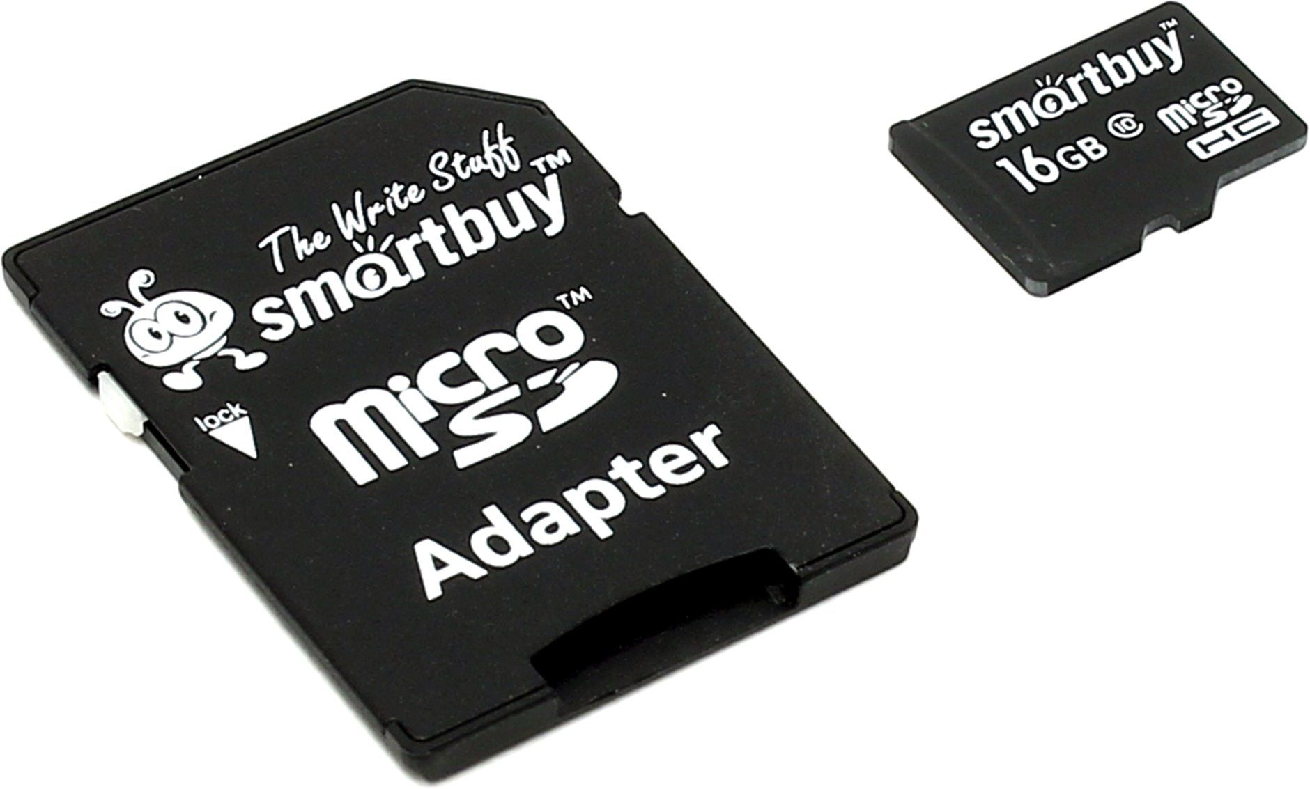 Smart Buy 16Gb micro SD Сlass10 карта памяти с ад.
